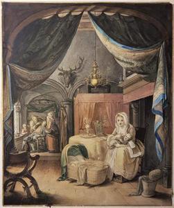 Kraamkamer met moeder en zuigeling, op de achtergrond een tandarts