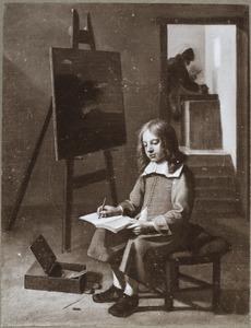 Een leerling tekenend in het atelier van de schilder