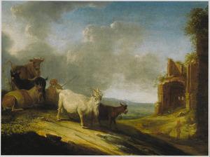 Duinlandschap met een herder en zijn kudde bij een ruïne