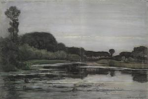 Geinrust farm with isolated trees under a gray sky