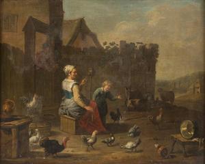 Vrouw en een jongen met gevogelte op een boerenerf