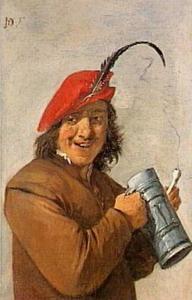 De rokende drinker met de rode muts