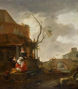 Zuidelijk landschap met vrouwen en een jongen bezig met huishoudelijke taken op de stoep van een huis