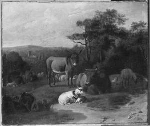 Bebost landschap met rustend vee