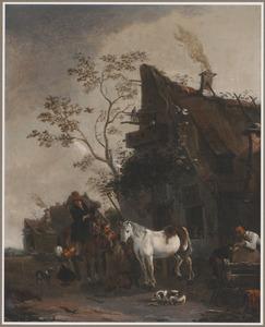 Ruiter en paarden bij een hoefsmid