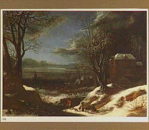 Winterlandschap met reizigers op een landweg, op de voorgrond een groep houthakkers
