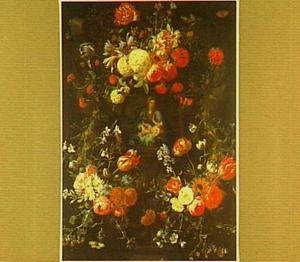 Bloemenkrans met daarin een afbeelding van een Madonna met Christus