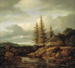 Heuvelachtig landschap met boerenhuis bij een stroomversnelling
