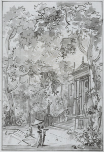 Parklandschap met tempel en kuierende figuren