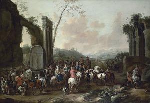 Landschap met groep ruiters bij een antieke fontein