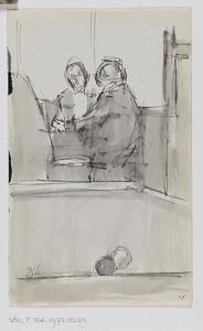 Schetsblad met biljart en twee zittende figuren
