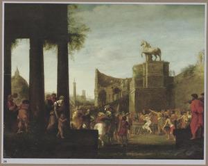 Fantasiegezicht op Rome met de marteling van de H. Laurentius