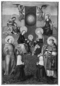 De H. Anna-te-Drieën, omringd door de HH. Johannes de Doper en Cecilia, twee stichtsters, de H. Franciscus en een heilige diaken