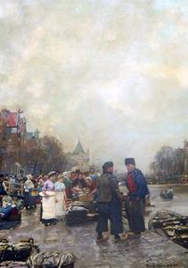 Vismarkt bij de Nieuwmarkt te Amsterdam met in het verschiet de Schreierstoren