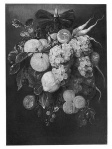 Festoen van een tros druiven, radijzen, knollen, abrikozen en andere vruchten