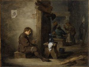 Rokende, drinkende en slapende boeren in een herberg