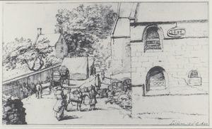 De kerk van St. Denis in Kalken met een legerkamp