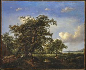 Landschap met hengelaars, herder en hooi oogstende man