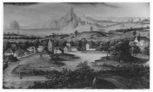 Heuvelend landschap met dorp aan een rivier en bergen op de achtergrond