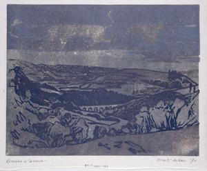 Heuvellandschap met boogbrug