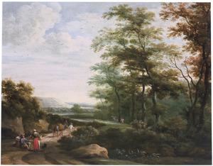 Zuidelijk landschap met reizigers bij een bosrand
