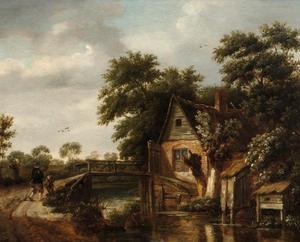 Landschap met een een huis bij een brug over een sloot