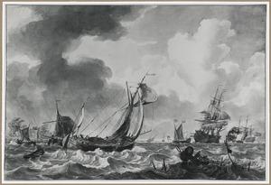 Zeilschepen en vissers op zee tijdens storm