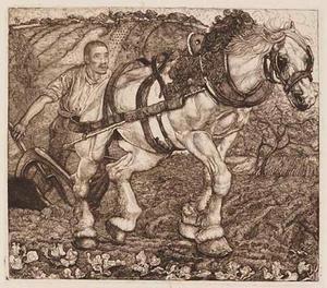 Boer met ploegend paard in landschap