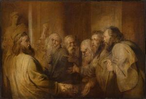 De zeven wijzen discussiëren over de drievoetige schaal