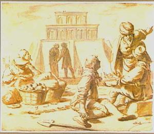 Bijbelse voorstelling met de tempel in Jeruzalem