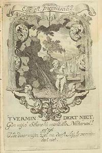 Allegorische voorstelling met drinkende amor, in een cartouche