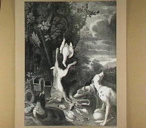 Drie honden bij jachtbuit van haas en gevogelte in een landschap