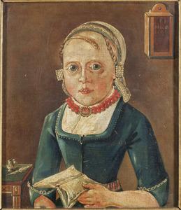 Portret van een meisje met een opgeslagen boek in handen