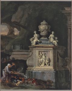 Grotinterieur met heks een zwarte mis celebrerernd voor een grafmonument