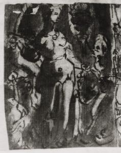Judith legt het hoofd van Holofernes in een zak die door haar dienares wordt opgehouden(Judith 8-16)