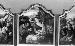 Graaf Hendrik III van Nassau als keizer Augustus met de Tiburtijnse Sibille (links), de H. Familie (midden), Johannes de Evangelist op Patmos (rechts)