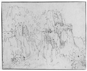 Berglandschap met watermolen en burchten