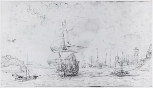 Havengezicht met schepen (Gdańsk?)