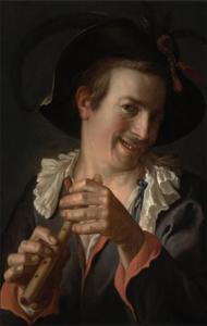 Een lachende fluitspeler