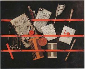 Trompe-l'oeil van een brievenbord met penning van Willem III