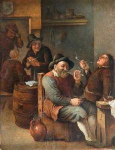 Interieur met rokende mannen