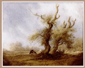 Landschap met rustende figuren bij twee eiken