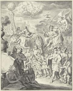 Allegorie met de triomftocht van Alexander de Grote