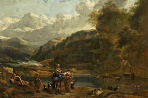 Italianiserend berglandschap met herders en hun vee bij een rivier