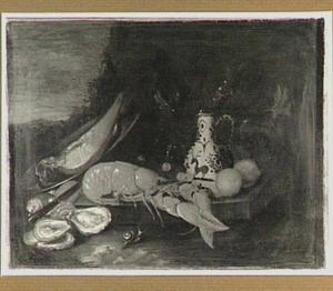 Stilleven met een kreeft, oesters, vruchten en een aardewerken kan op een plint