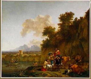 Zuidelijk landschap met herders en hun dieren bij een rivier