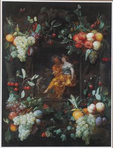 Vruchtenfestoenen rondom een voorstelling van Bacchus en Ceres