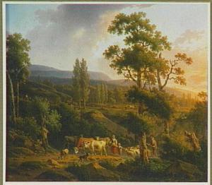 Landschap met herders bij zonsondergang