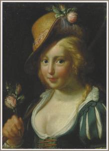 Herderin met een roos in de hand