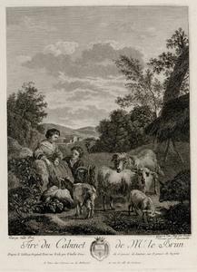 Landschap met twee kinderen, geiten en schapen